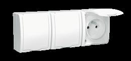 Gniazdo wtyczkowe potrójne z uziemieniem - w wersji IP54 -  klapka w kolorze białym biały 16A-255741
