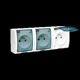 Gniazdo wtyczkowe potrójne z uziemieniem - z przesłony torów prądowych - w wersji IP54 - klapka w kolorze transparentnym biały 1