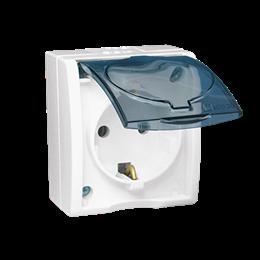 Gniazdo wtyczkowe pojedyncze z uziemieniem typu Schuko - w wersji IP54 -  klapka w kolorze transparentnym biały 16A-255747