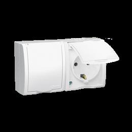 Gniazdo wtyczkowe podwójne z uziemieniem typu Schuko - przesłony torów prądowych - w wersji IP54 - klapka w kolorze białym biały