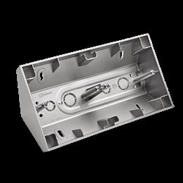 Puszka natynkowa narożna 2-krotna srebrny mat, metalizowany-251677