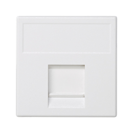 Plakietka teleinformatyczna K45 ITT CANNON pojedyncza płaska z osłoną 45×45mm czysta biel-256366