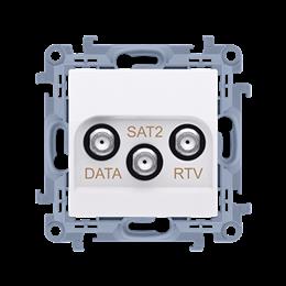 Gniazdo antenowe RTV-DATA-SAT tłum.:1,5dB biały-254502
