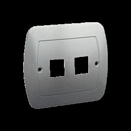 Pokrywa gniazd teleinformatycznych na Keystone płaska podwójna aluminiowy, metalizowany-255707
