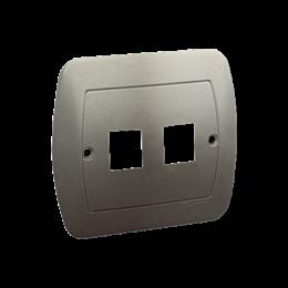 Pokrywa gniazd teleinformatycznych na Keystone płaska podwójna satynowy, metalizowany-255708