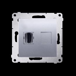 Gniazdo HDMI pojedyncze srebrny mat, metalizowany-253012