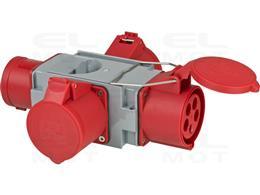 Brennenstuhl CEE Adapter rozdzielacz zasilania IP44 (1 x wtyczka CEE 400 V/32 A i 3 x gniazda CEE 400 V/32 A) na plac budowy-247