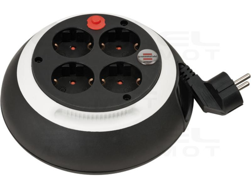 Brennenstuhl Comfort Line przedłużacz bębnowy z 4 gniazdami  / mini bęben kablowy (przedłużacz na bębni do użytku domowego, kabe