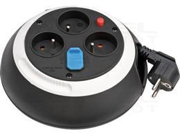 Brennenstuhl Comfort Line przedłużacz bębnowy z 3 gniazdami z USB / mini bęben kablowy (przedłużacz na bębnie do użytku domowego