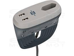 Brennenstuhl estilo gniazdo na sofę z funkcją ładowania USB (listwa zasilająca z 1 x gniazdem Euro i 2 x ładowarka USB, gniazdo