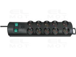 Listwa zasilająca Primera-Line 10 gniazda czarny 2m H05VV-F 3G1,5 z wyłącznikiem *FR*-248079