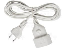 Brennenstuhl Przedłużacz z tworzywa sztucznego (przedłużacz do zastosowań wewnętrznych, kabel 3m, z wtyczką Euro i złączką) biał