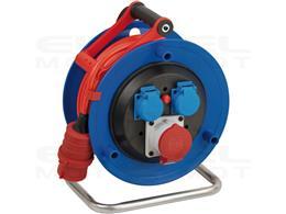 Brennenstuhl Garant CEE 1 przedłużacz bębnowy IP44 (bęben kablowy z 25m kabel w kolorze czerwonym sygnalizacyjnym, wykonany ze s