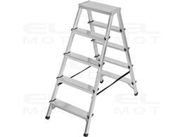 Drabina aluminiowa z obustronnym wejściem, gwarancja najwyższej jakości Poziomy 2x5, Wysokość drabiny stojącej 1,04m-250505