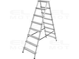 Drabina aluminiowa z obustronnym wejściem, gwarancja najwyższej jakości Poziomy 2x8, Wysokość drabiny stojącej 1,68m-250514