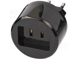 Brennenstuhl Wtyczka podróżna  / adapter podróżny (adapter dla: gniazdo USA i wtyczka Euro) czarny-250652