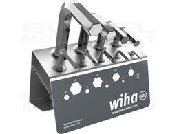 Wiha Zestaw kluczy trzpieniowych sześciokątny krótki, niklowany na wysoki połysk, wraz z stojaku warsztatowym, 10-cz. (01182)-21