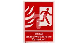 Tabliczka ostrzegawcza /Drzwi przeciwpożarowe zamykać 150x205/ 30P/F1/FS-40960